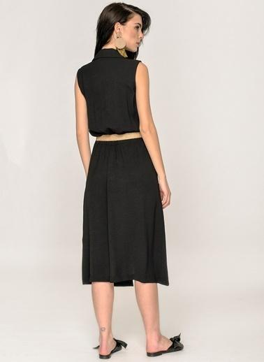 Loves You Kolsuz Gömlek Elbise Siyah